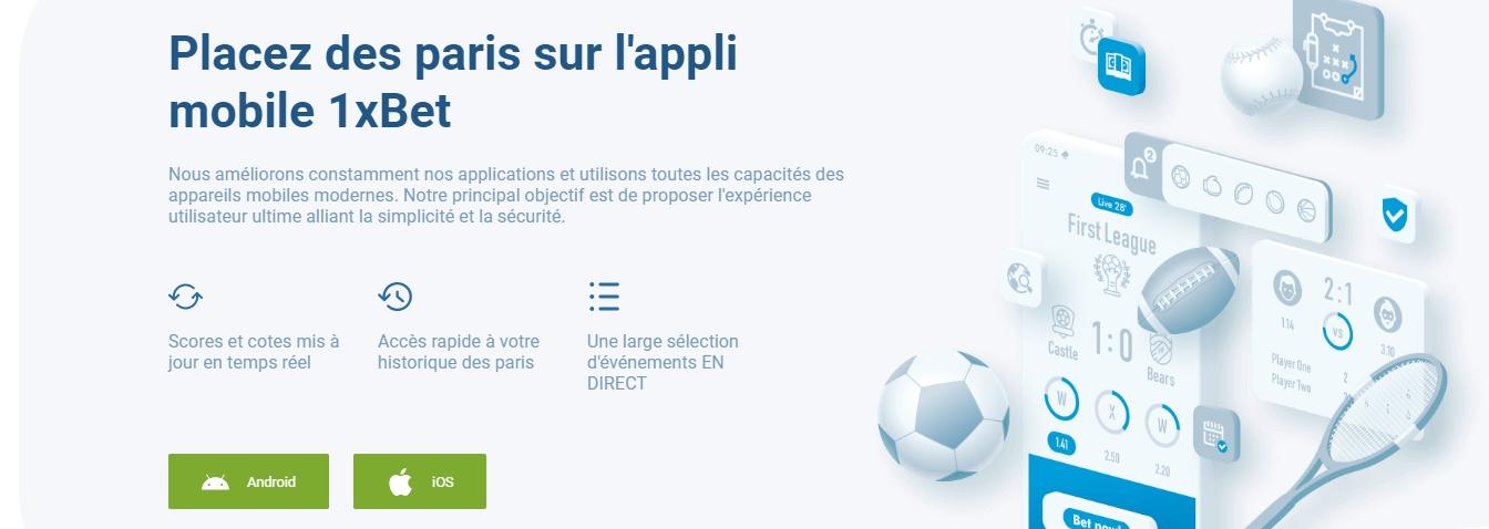 1xBet offre application mobile pour paris en ligne
