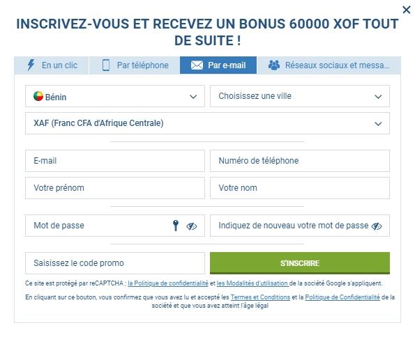 1xBet registration Benin
